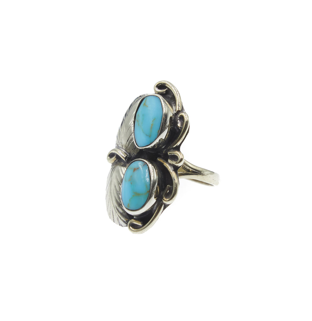 Two Raven Two Stone Ring, Turquoise