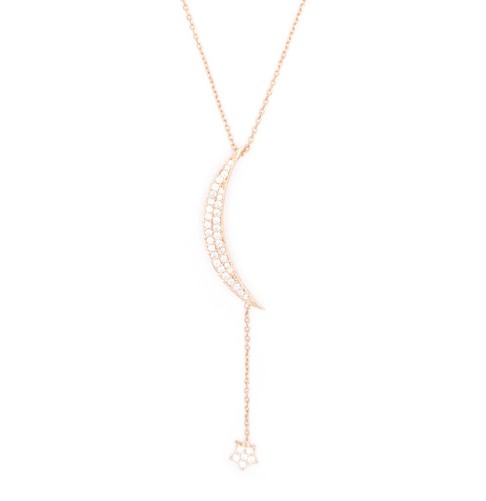 Large Pave Moon & Hanging Star Necklace, Rose Gold