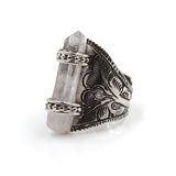 Raw Crystal Quartz Ring, Silver