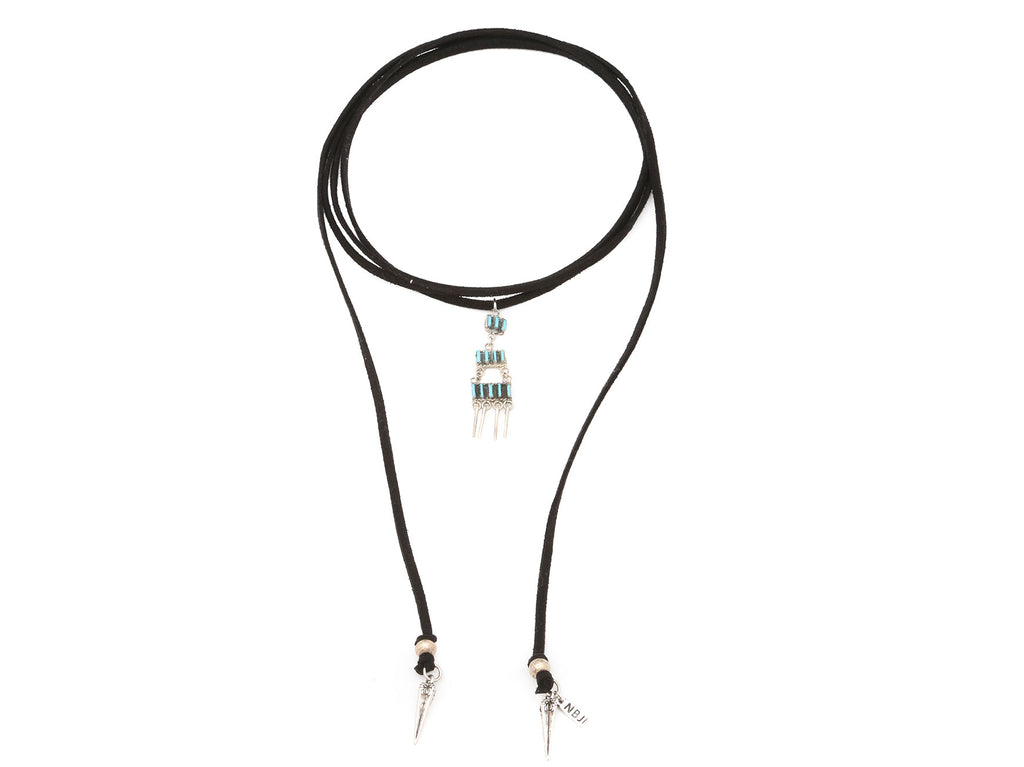 "Handmade Zuni Genuine Turquoise pendent (1"" long) on a vegan suede wrap choker with silver spears and accent beads."