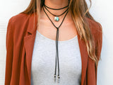 Roadie Wrap Two Raven Turquoise Charm Choker/Bracelet, Saddle