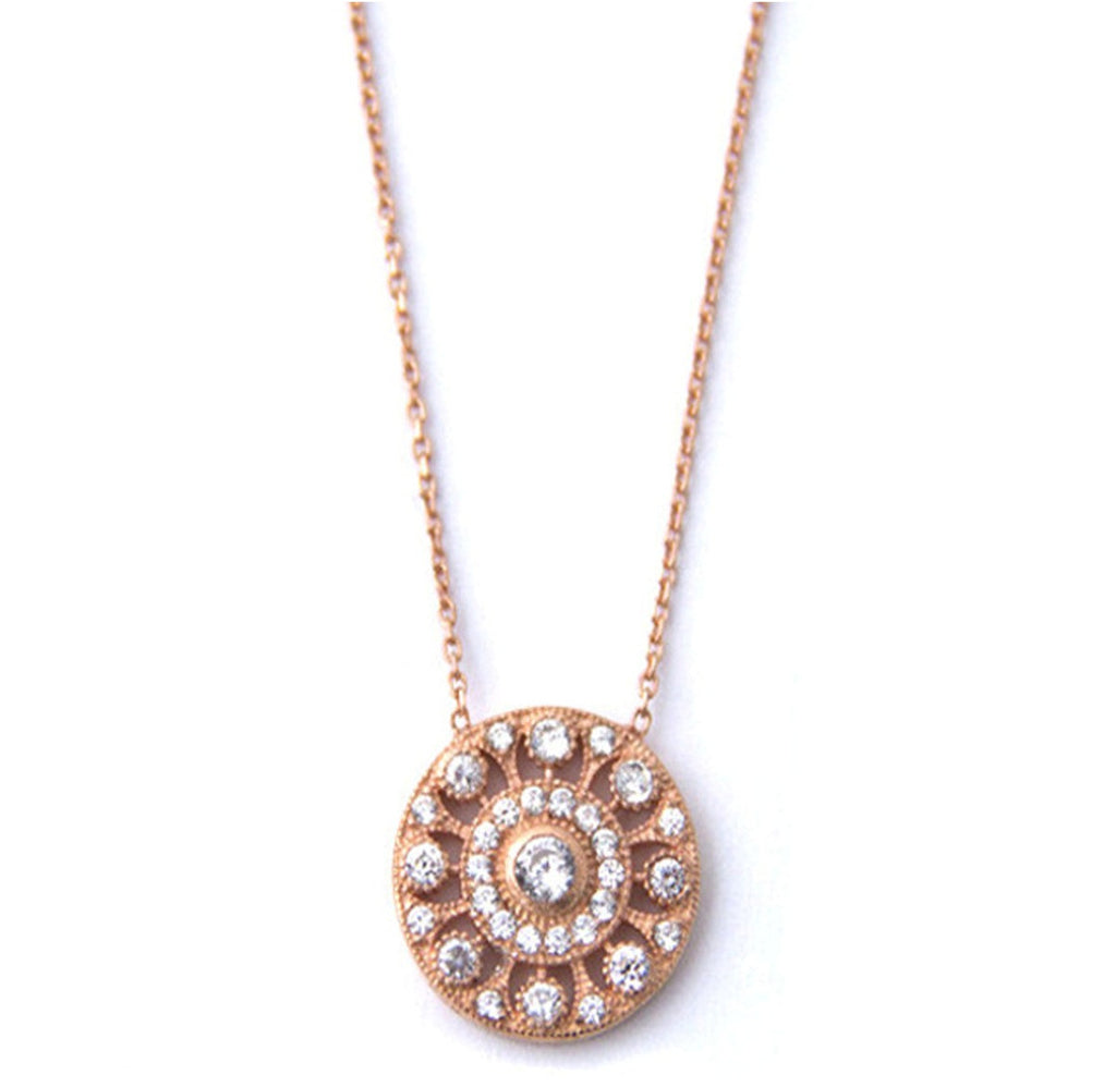 Pave Victorian Disc Necklace, Rose Gold