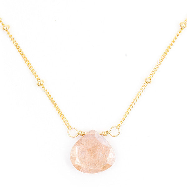 Stone Drop Choker, Peach Moonstone