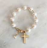 Sadie Vintage Cross, White Freshwater Pearls