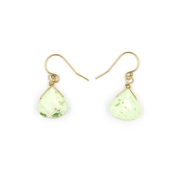 Stone Drop Earrings, Lime Agate