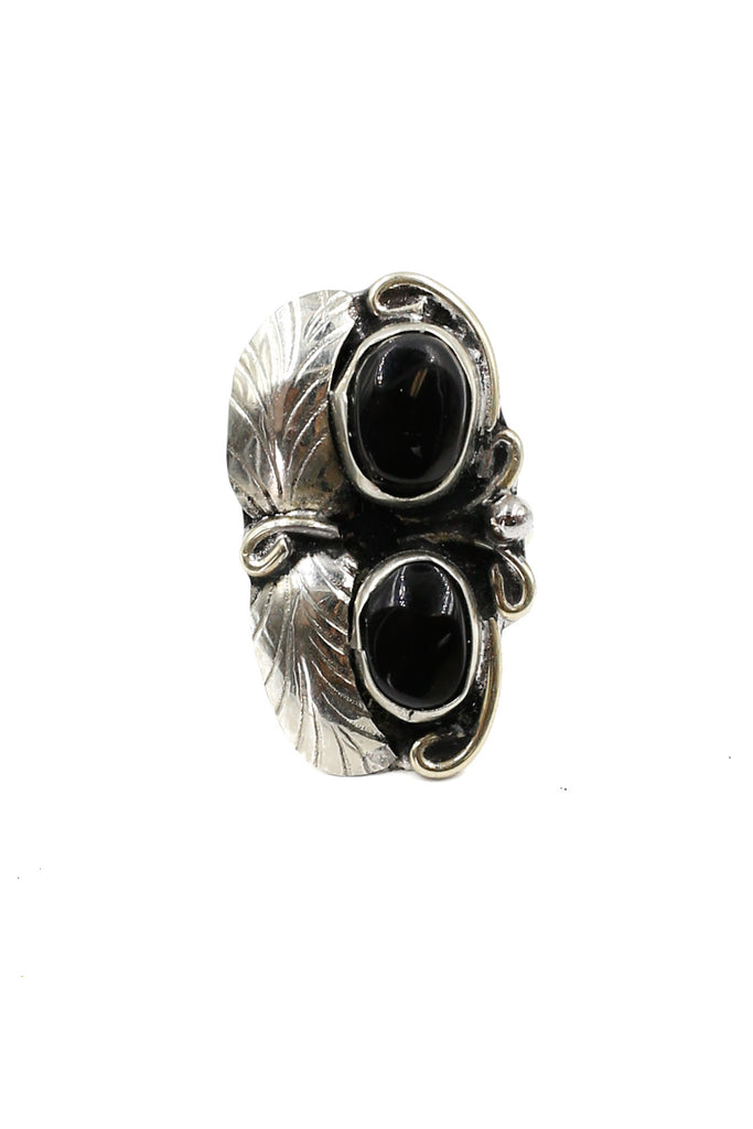 Two Raven Two Stone Ring, Onyx