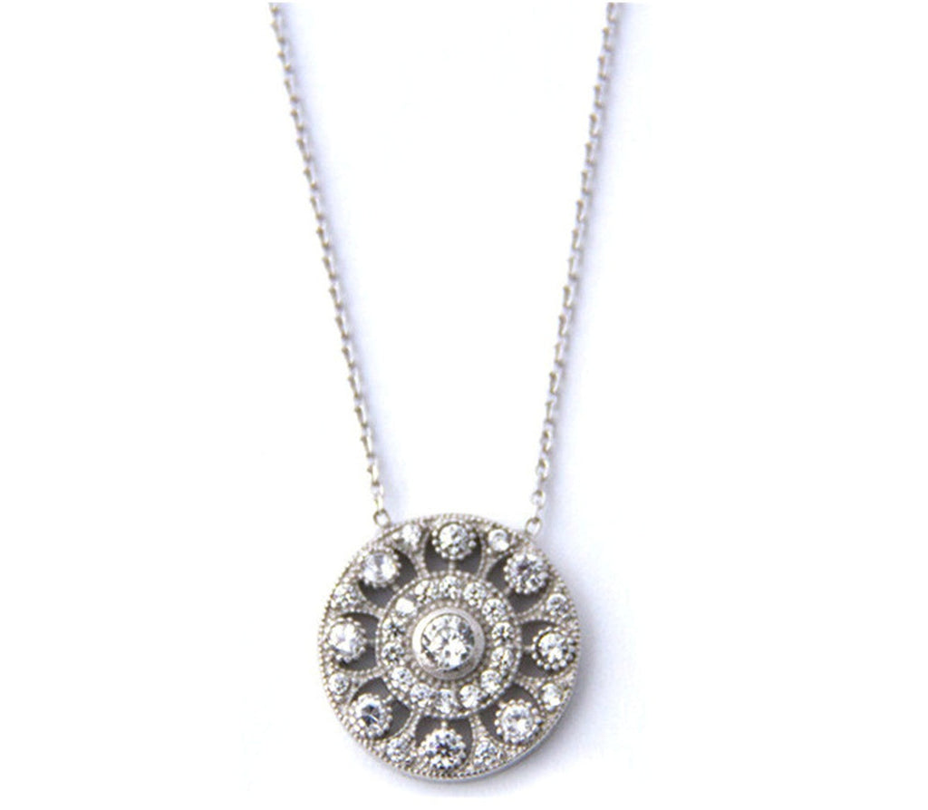 Pave Victorian Disc Necklace, Silver