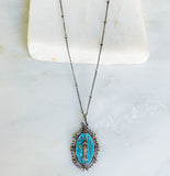 Vintage Blue Intricate Elongated Virgin Mary