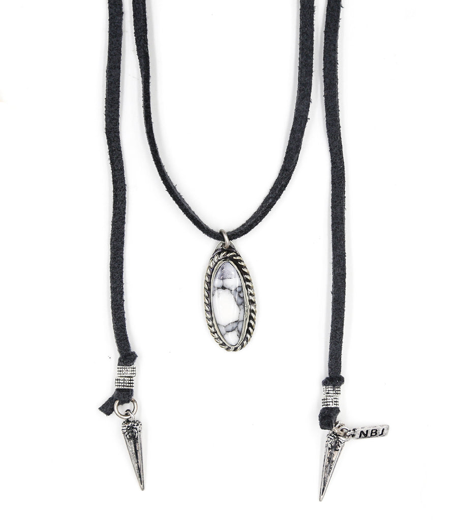 Natalie B Jewelry Roadie Wrap Necklace in Gray k8H6Y
