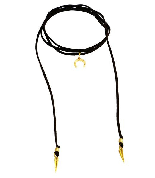 Black Giddy Up Roadie Wrap Choker, Gold