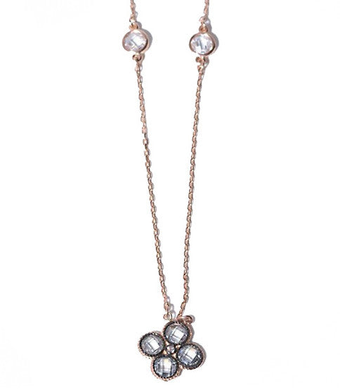 Rose Gold Daisy Necklace, Clear/Black