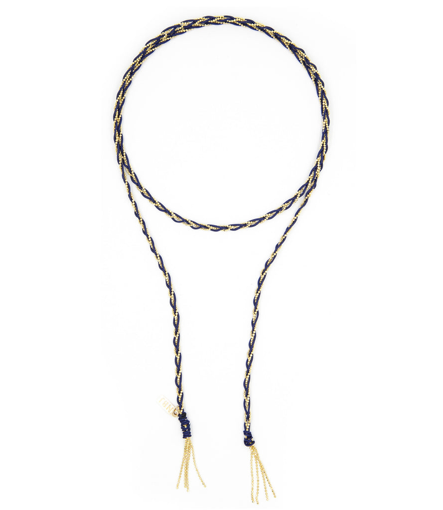 Lyra Lariat Necklace, Navy & Gold