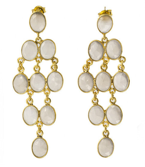 Rain Drop Chandelier Post Earrings, Misty Moonstone
