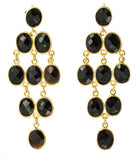 Rain Drop Chandelier Post Earrings, Black Onyx