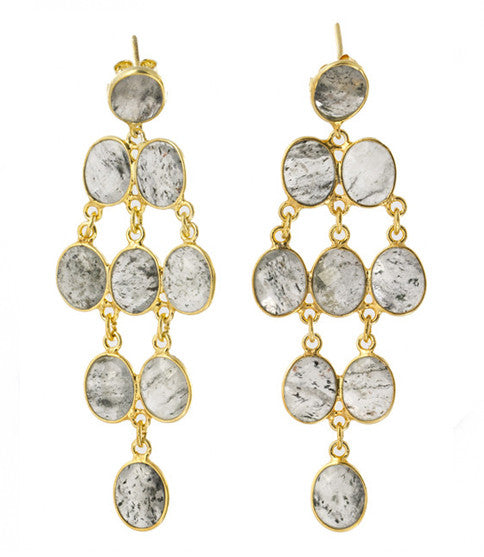Rain Drop Chandelier Post Earrings, Tourmalinated Quartz