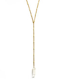 Gold Energizer Lariat Necklace, Clear Quartz