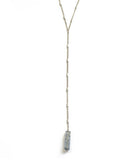 Silver Energizer Lariat Necklace, Blue Crystal