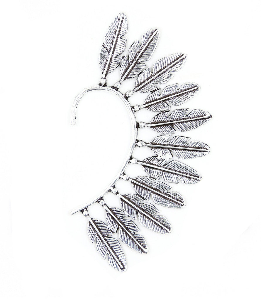 Feather Fantasy Ear Cuff, Silver