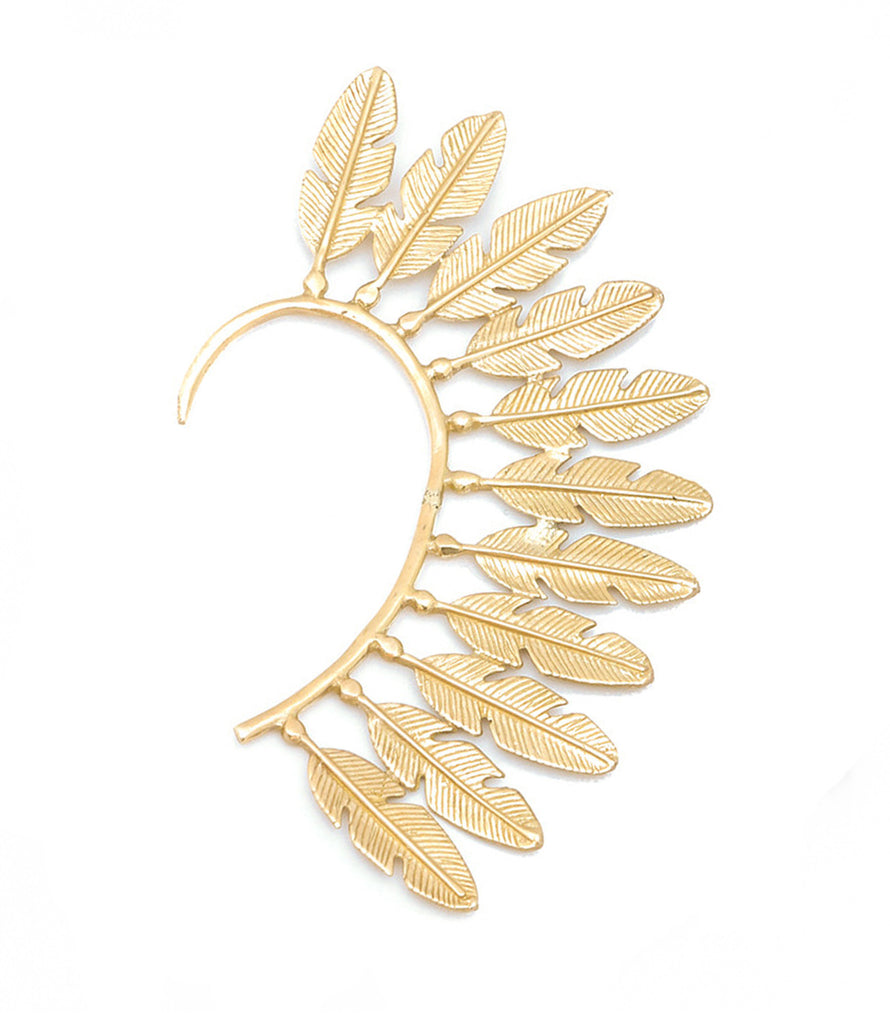 Feather Fantasy Ear Cuff, Gold