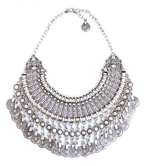Fit For A Queen Bib Necklace, Silver