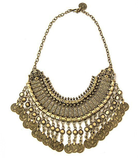 Fit For A Queen Bib Necklace, Brass