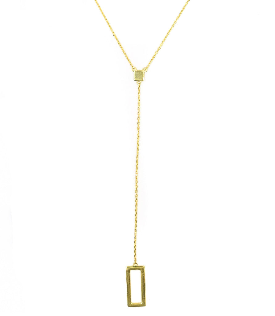Four Corners Lariat Necklace, Gold