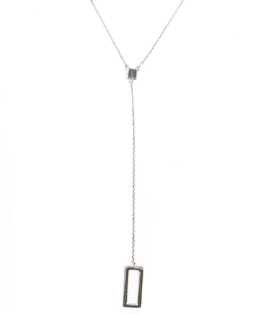 Four Corners Lariat Necklace, Silver