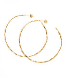 ReDone Vintage Inspired Gold Bamboo Hoop Earrings, Large