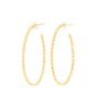 Diamond Cut Oval Hoops, Gold