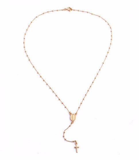 Roma Rosary Necklace, Rose Gold