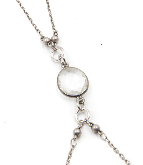 Silver Hot Bod Body Chain, Clear Quartz