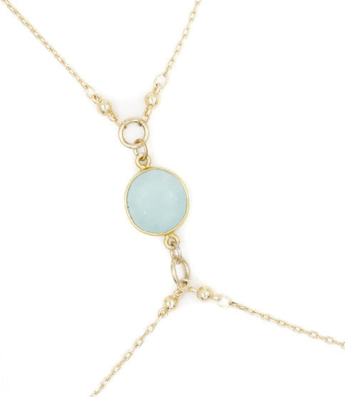 Gold Hot Bod Body Chain, Aqua Chalcedony