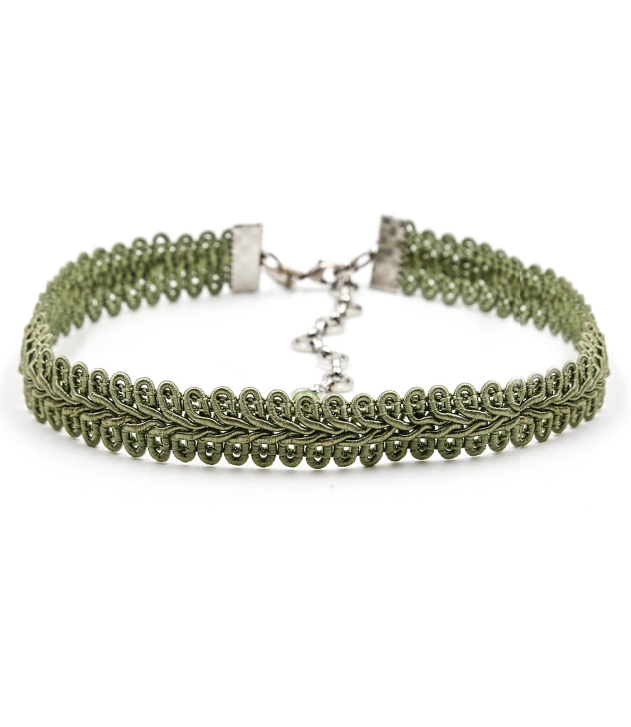 Kate Modele Lace Ribbon Choker, Sage