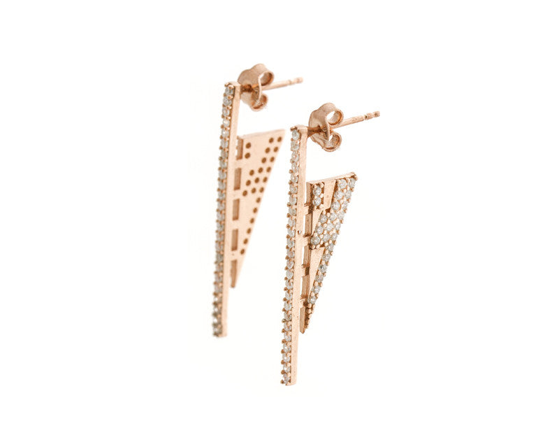 Sky Scraper Earrings, Rose Gold