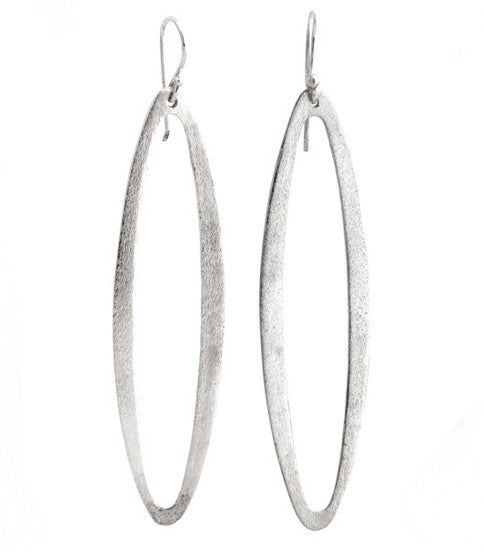 Brushed Oval Hoop Earrings, Silver