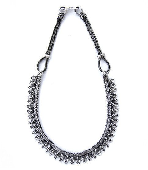 Arshia Bib Necklace, Silver