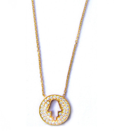 Pave Hamsa Necklace, Gold