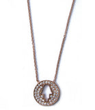 Pave Hamsa Necklace, Rose Gold