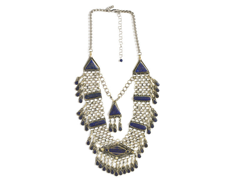 Haya Bib Necklace, Lapis