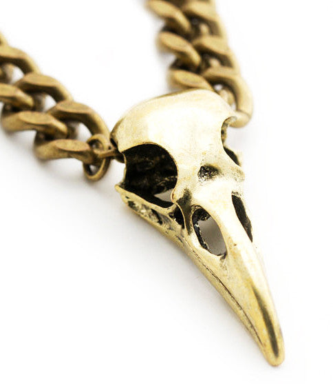 Iron Crow Necklace, Brass