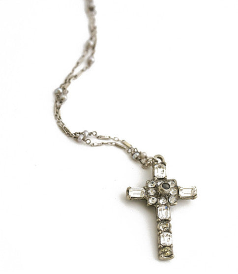 Vintage Stanhope Maria Cross Necklace with Lords Prayer, Silver