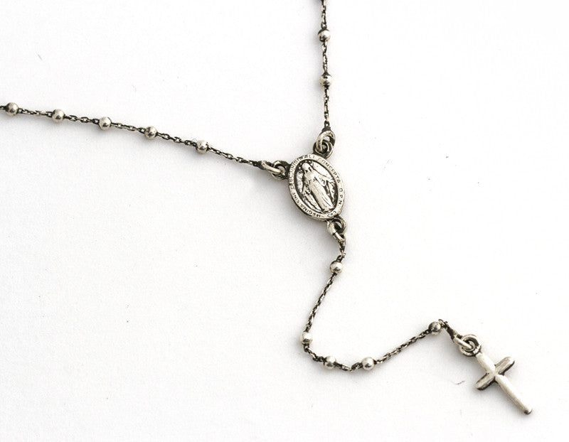 Roma Rosary Necklace,  Oxidized Silver
