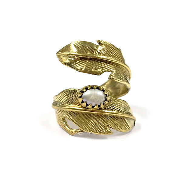 Light as a Feather Brass Ring, Fresh Water Pearl