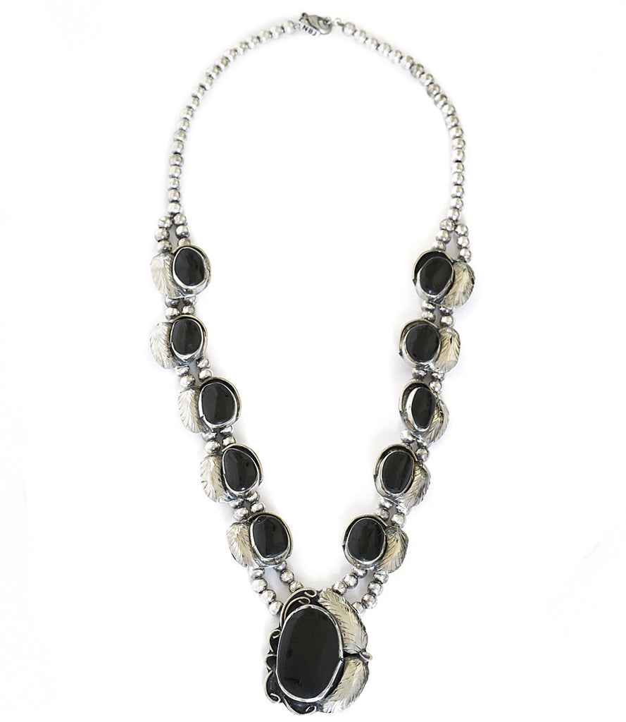 Two Raven Long Necklace, Onyx