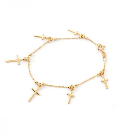 Priere CZ Cross Dangle, Gold