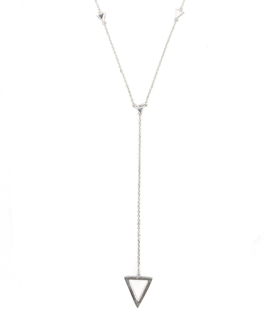 On Point Lariat Necklace, Silver