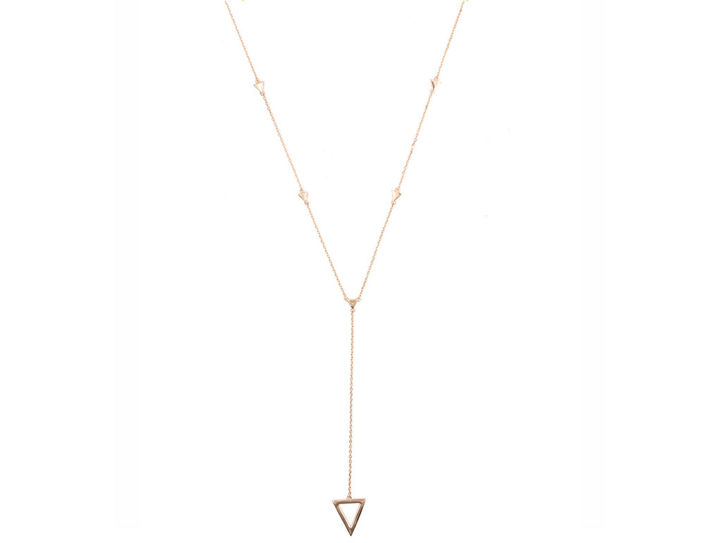On Point Lariat Necklace, Rose Gold