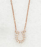 Pave Horseshoe Necklace, Rose Gold