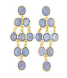 Rain Drop Chandelier Post Earrings, Ibiza Blue Chalcedony