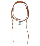 Roadie Wrap Two Raven Charm Wrap Choker, Saddle